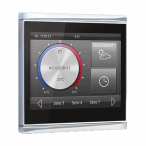 KNX Touch-panel, sort, blank krom, Corlo Touch