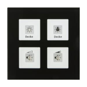 KNX RF+ Glassbr. 4 knapper, temp, 1x10A, sort, RF-GTT4S.01